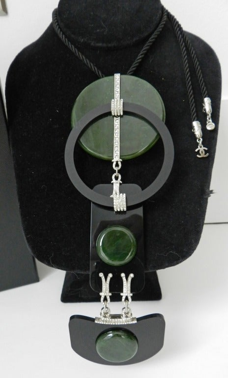 Chanel 09a Jade Art Deco Runway Necklace At 1stdibs