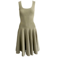 Alaia Beige Waffle Textured Bodycon Dress