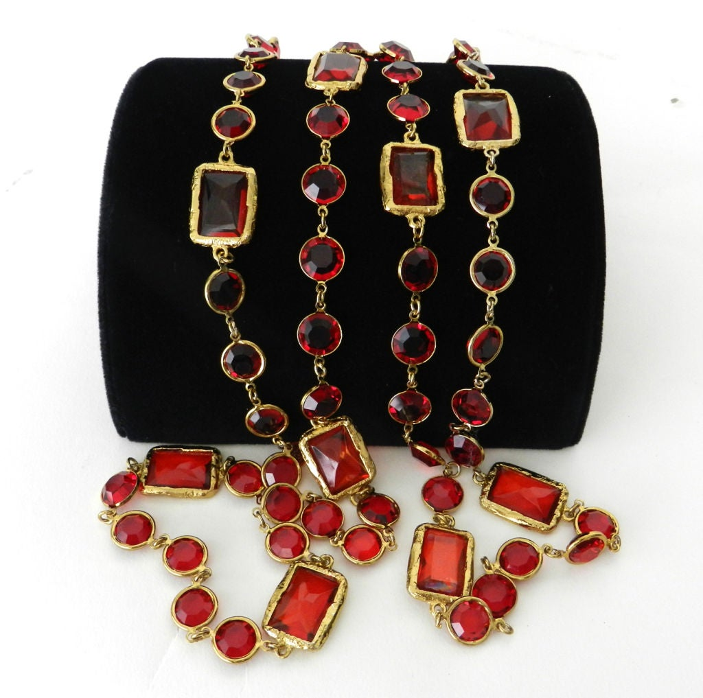 Chanel 1981 Red Chicklet Sautoir Necklace 2
