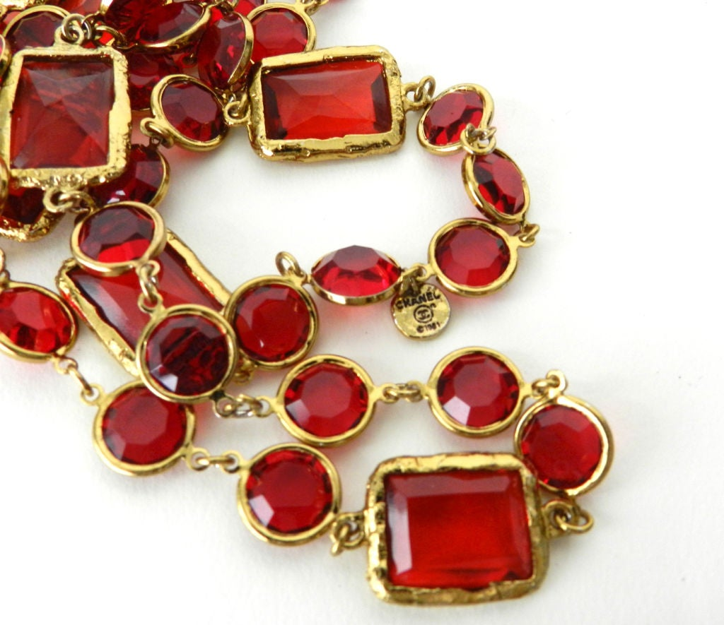 Chanel 1981 Red Chicklet Sautoir Necklace 3