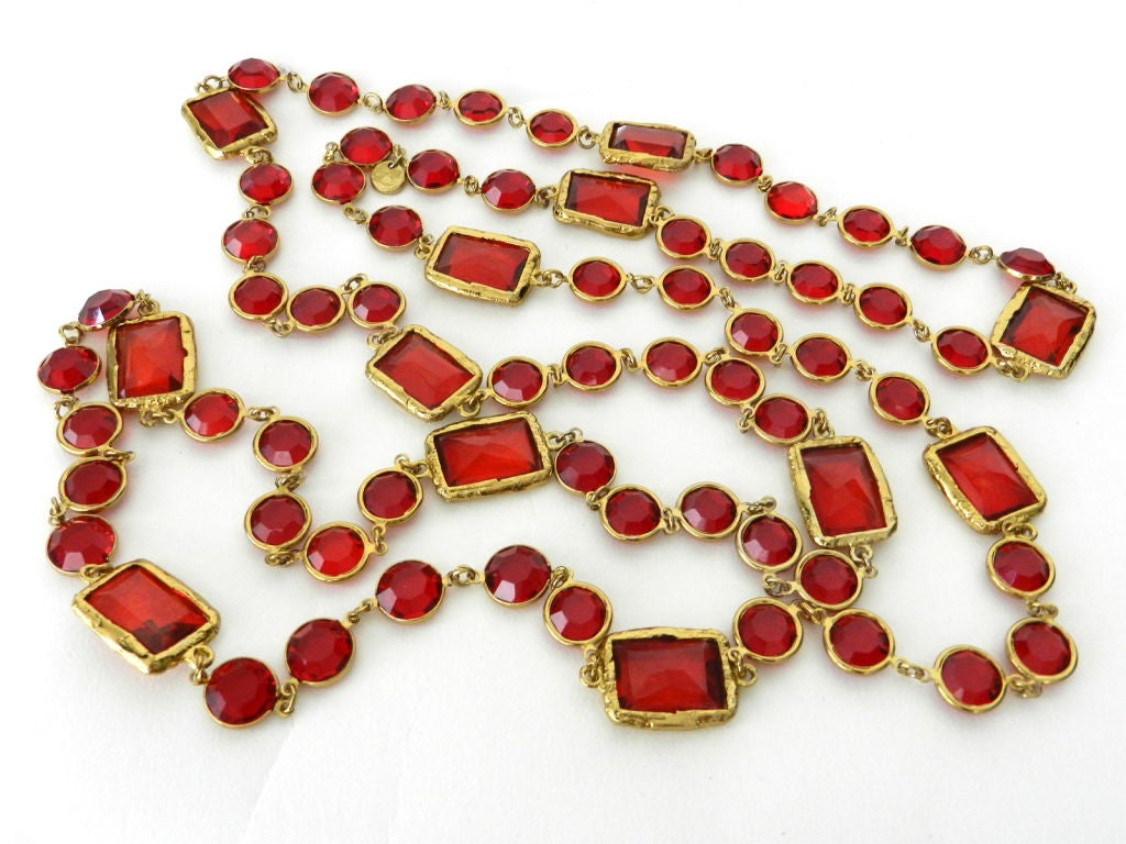 Chanel 1981 Red Chicklet Sautoir Necklace 4