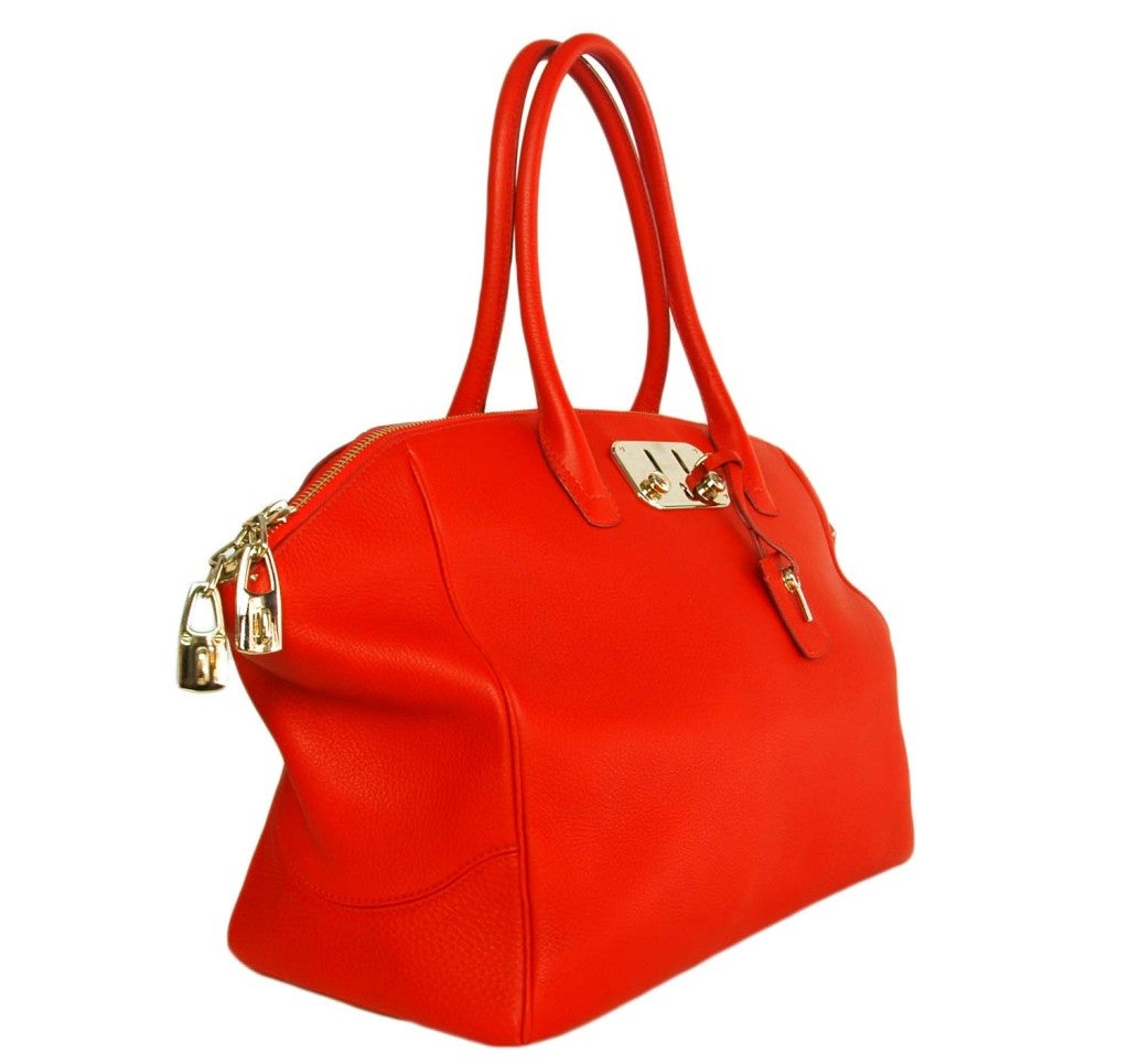 VBH Red Leather Brera Tote Bag 2