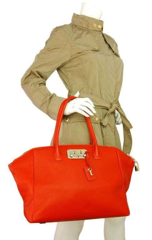 VBH Red Leather Brera Tote Bag 7