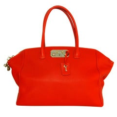 VBH Red Leather Brera Tote Bag