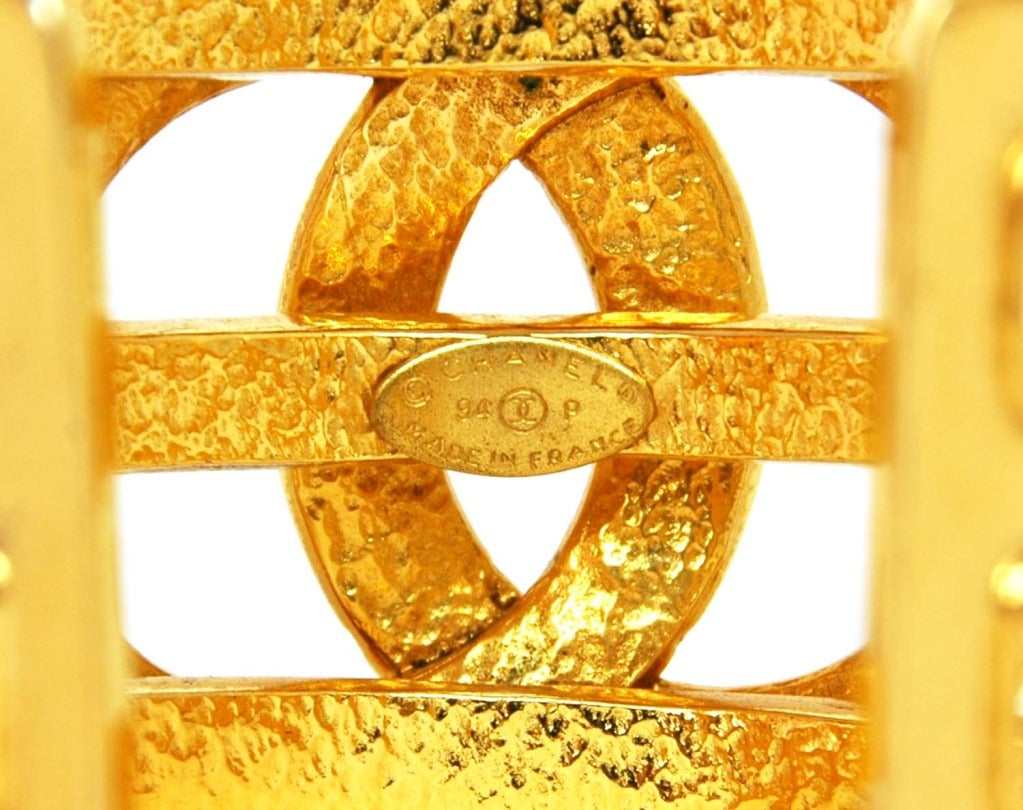 CHANEL Cutout Gold Tone Cuff With Oversized CC 3