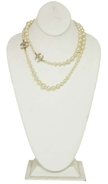 CHANEL Long Faux Pearl Necklace With Miniature Faux Pearl CC Cha 2