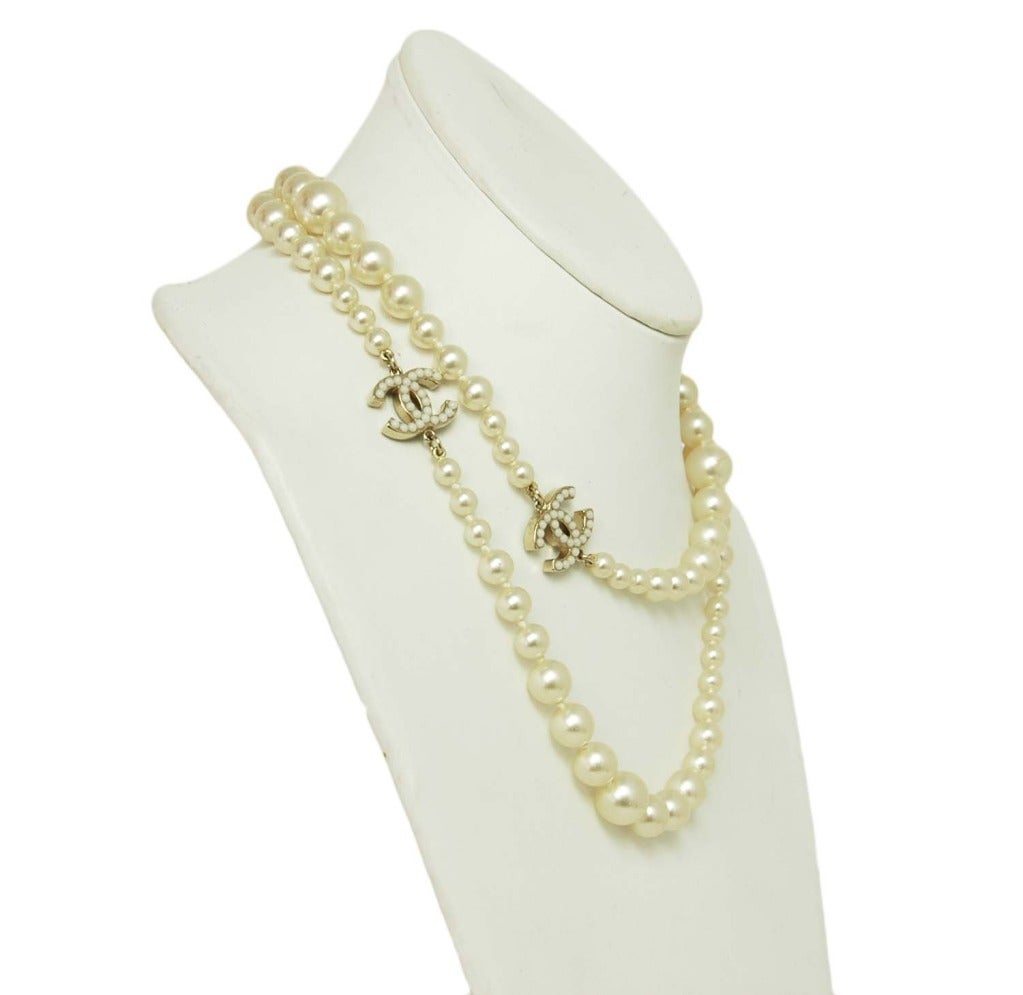 chanel faux pearl necklace with miniature faux pearl