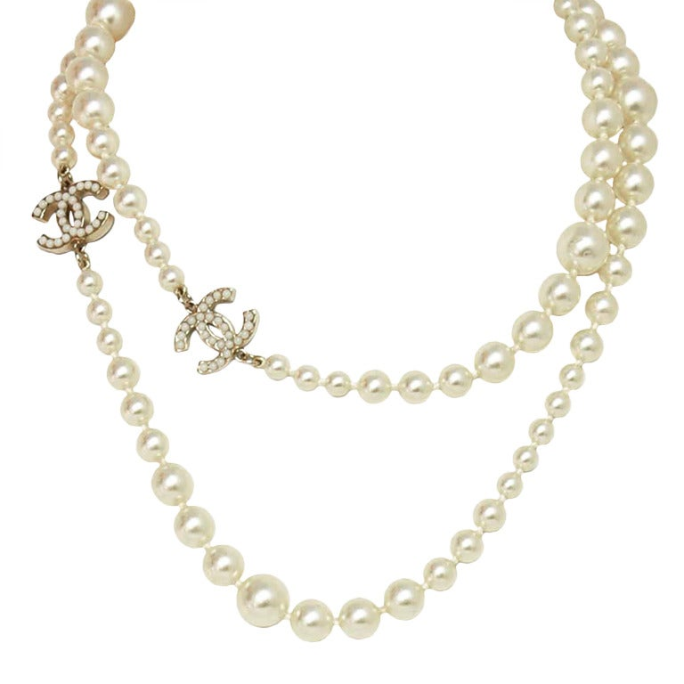 CHANEL Long Faux Pearl Necklace With Miniature Faux Pearl CC Cha 1