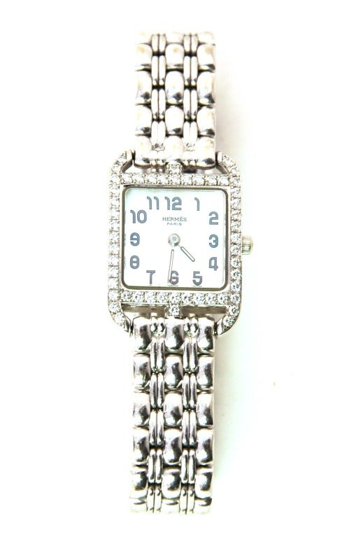 Hermes Lady's White Gold and Diamond Cape Cod PM Wristwatch 3