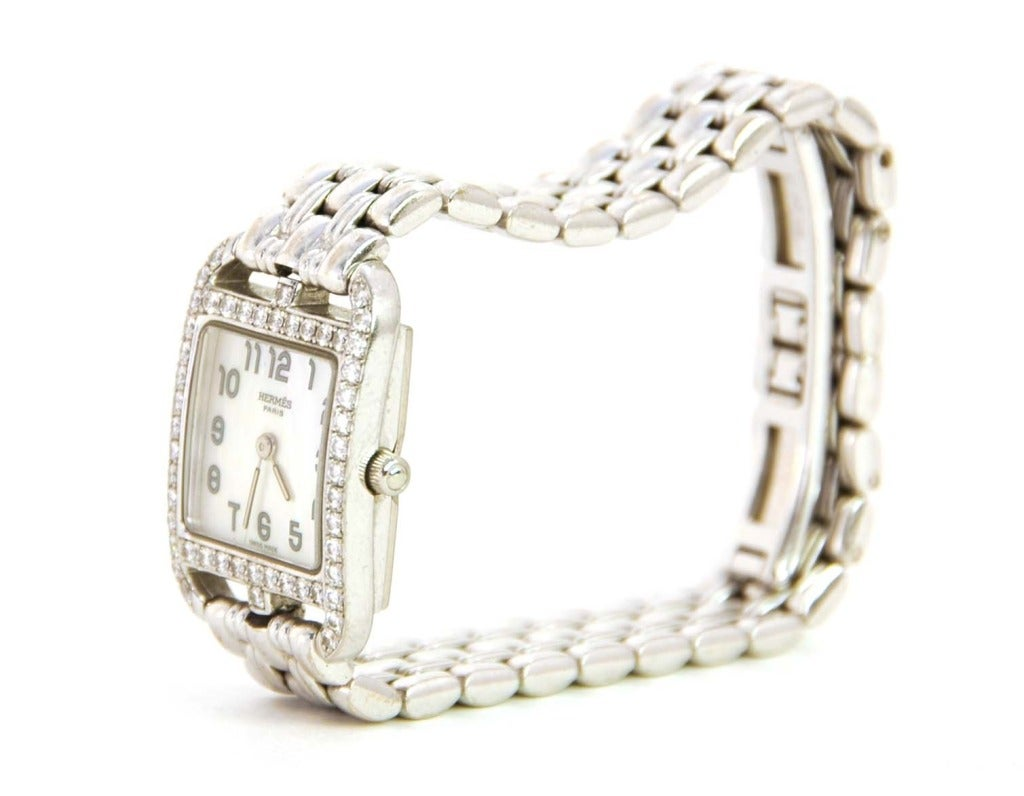 Hermes Lady's White Gold and Diamond Cape Cod PM Wristwatch 4