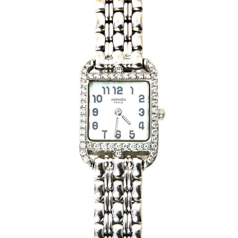 Hermes Lady's White Gold and Diamond Cape Cod PM Wristwatch 2