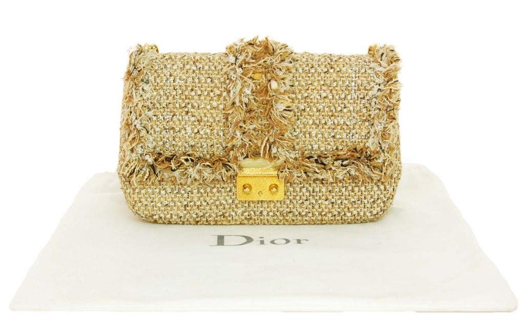 "CHRISTIAN DIOR ""Miss Dior"" Beige Tweed Ltd Ed Shoulder Flap Bag image 3"