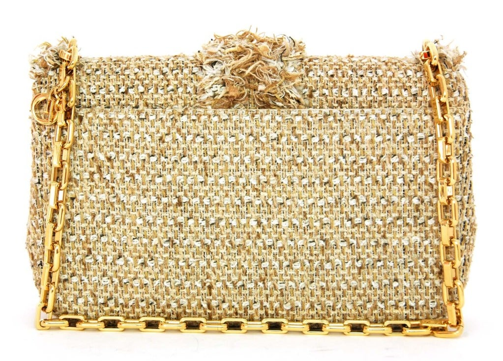 "CHRISTIAN DIOR ""Miss Dior"" Beige Tweed Ltd Ed Shoulder Flap Bag image 5"