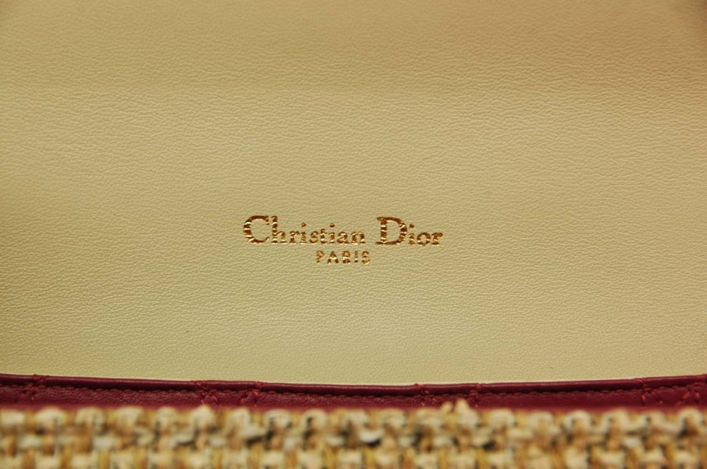 "CHRISTIAN DIOR ""Miss Dior"" Beige Tweed Ltd Ed Shoulder Flap Bag image 8"
