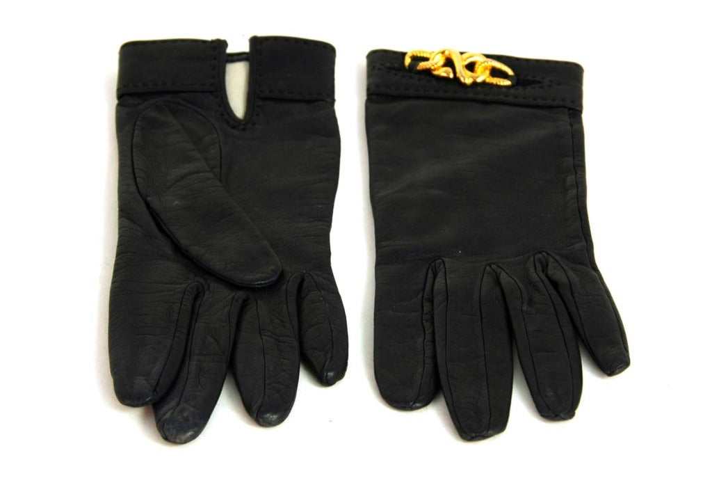 HERMES Black Leather Gloves With Gold Chain Detail 4