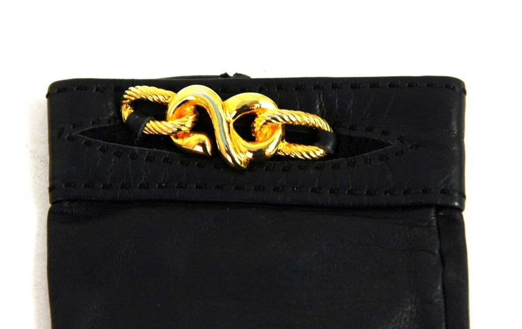 HERMES Black Leather Gloves With Gold Chain Detail 5