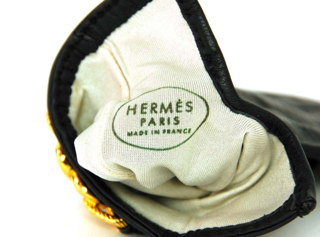 HERMES Black Leather Gloves With Gold Chain Detail 6