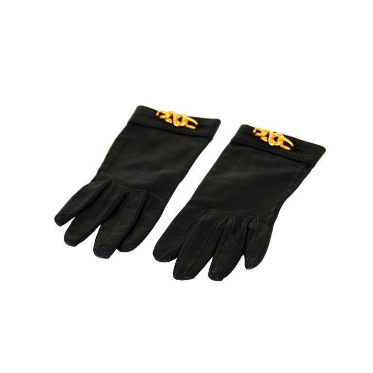 HERMES Black Leather Gloves With Gold Chain Detail 1