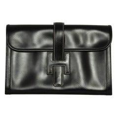 HERMES Black Leather H Jige Clutch