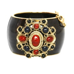 Chanel Bronze Enamel Bracelet with Blue and Red Stones