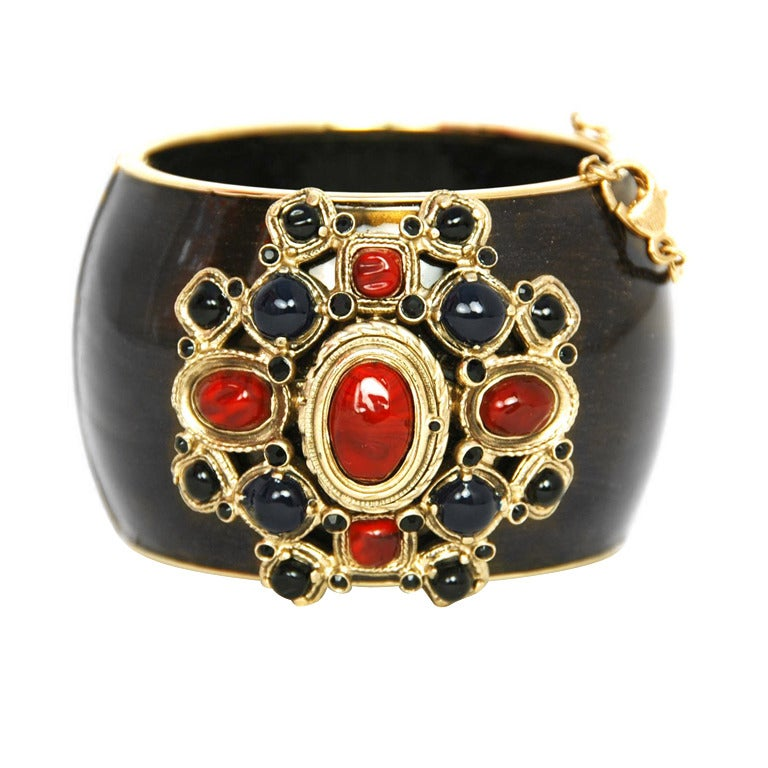 Chanel '10 Resort Runway Bronze, Blue & Red Cuff Bracelet