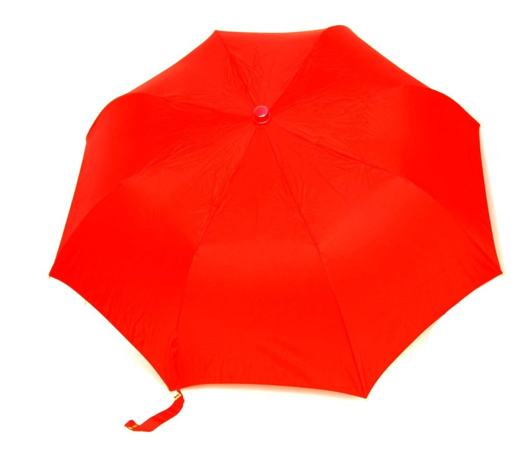 Chanel Red Umbrella With Quilted Rubber Bag W Chain Strap