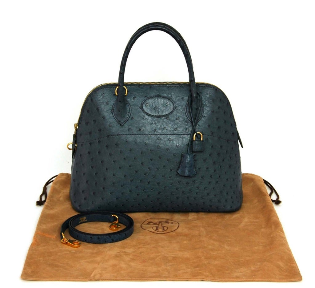 HERMES 2001 Blue Ostrich Leather 31cm Bolide Bag with Strap at 1stdibs