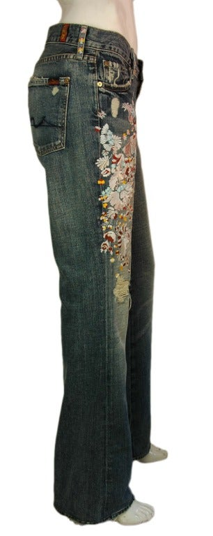 ZAC POSEN 7 For All Mankind Denim Jeans with Floral Print 2