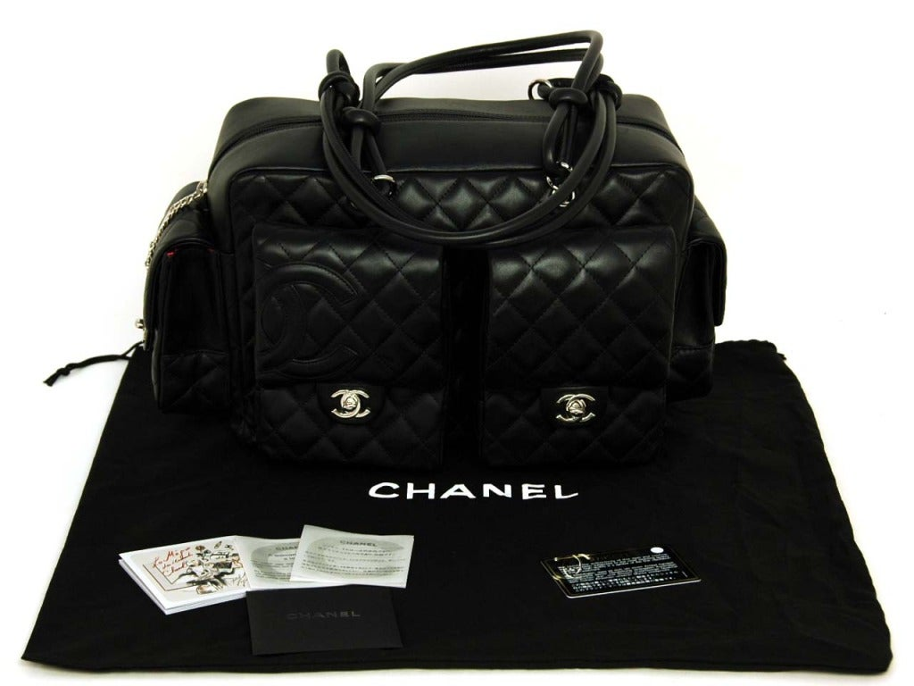 CHANEL Black Quilted Leather Cambon Reporter Bag With Wraparound Logo CC 2