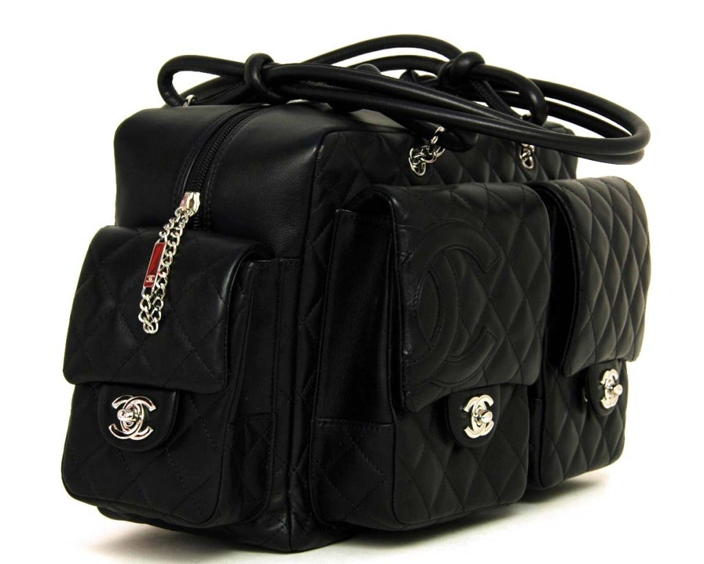 CHANEL Black Quilted Leather Cambon Reporter Bag With Wraparound Logo CC 3