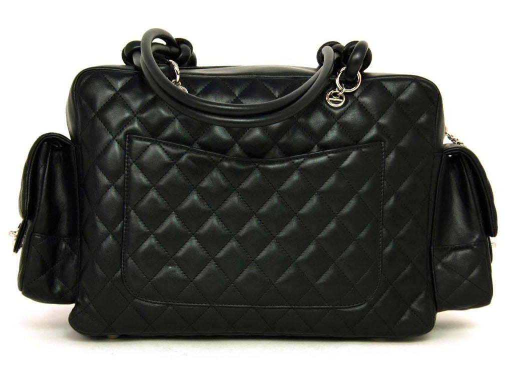 CHANEL Black Quilted Leather Cambon Reporter Bag With Wraparound Logo CC 4