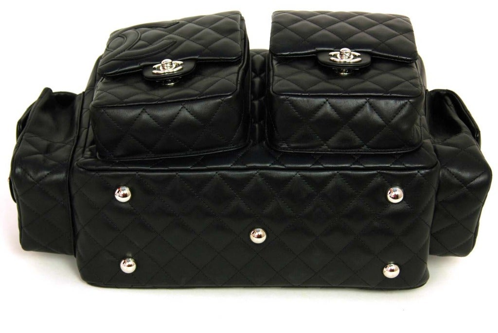 CHANEL Black Quilted Leather Cambon Reporter Bag With Wraparound Logo CC 5
