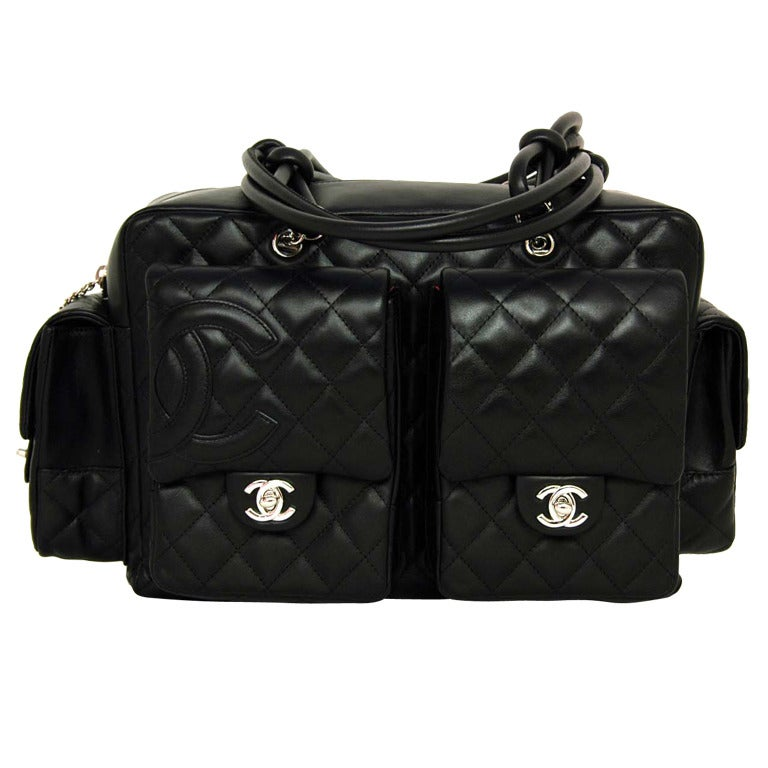 CHANEL Black Quilted Leather Cambon Reporter Bag With Wraparound Logo CC 1