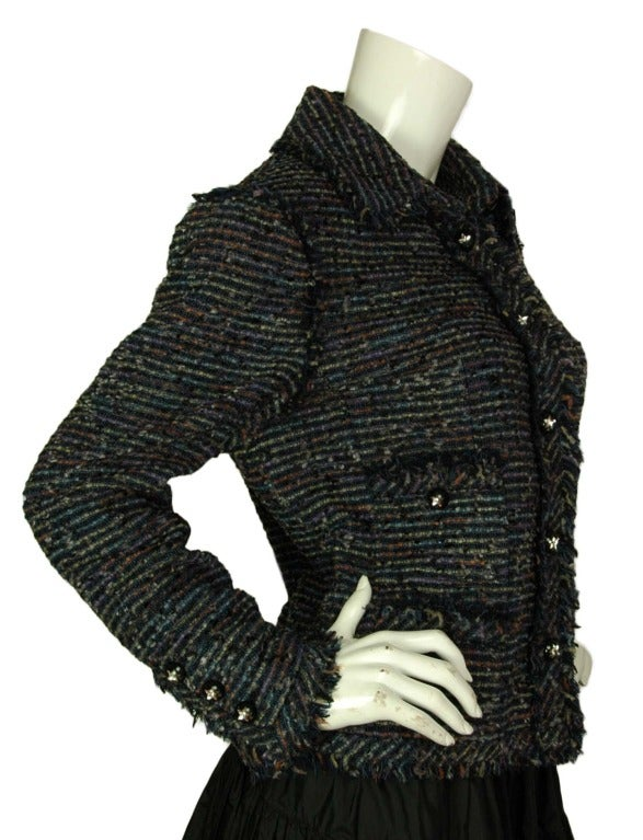 CHANEL Navy Fantasy Tweed Blazer With Fringe Trim And Star Buttons c. 2005 image 2