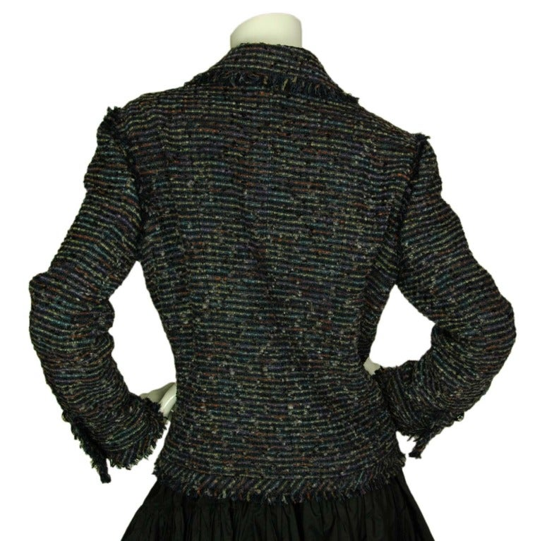 CHANEL Navy Fantasy Tweed Blazer With Fringe Trim And Star Buttons c. 2005 image 3