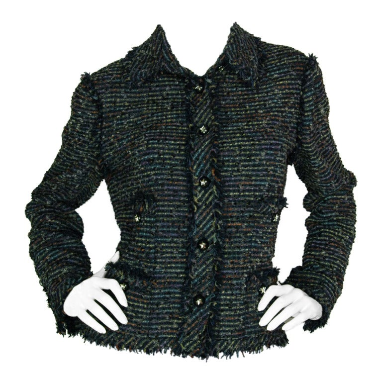 CHANEL Navy Fantasy Tweed Blazer With Fringe Trim And Star Buttons c. 2005