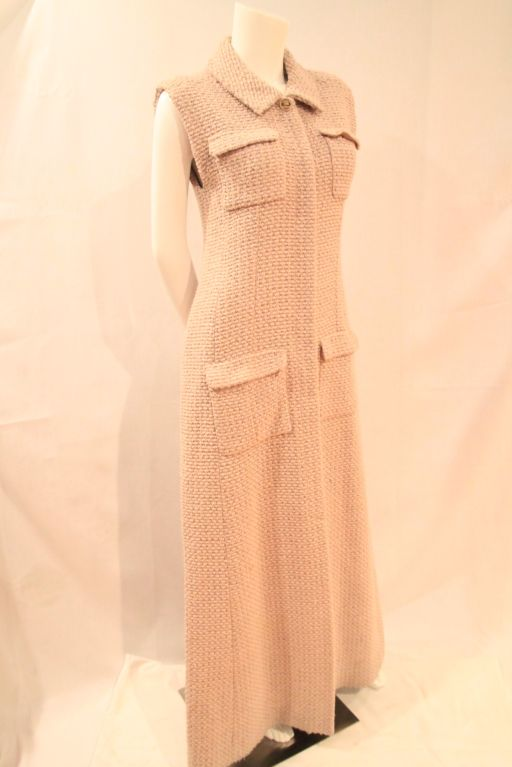 CHANEL BEIGE TWEED SLEEVELESS COAT DRESS - SZ 38 3