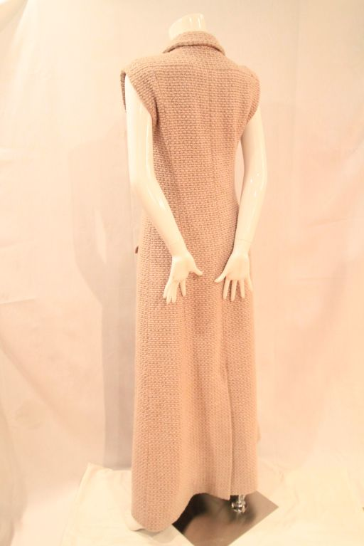 CHANEL BEIGE TWEED SLEEVELESS COAT DRESS - SZ 38 5
