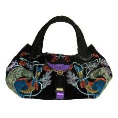 FENDI Black Ltd Ed Bordeaux Velvet Embroidered Squirrel Spy Bag