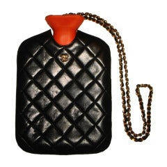 Chanel 1990s Black Quilted Lambskin Leather Hot Water Bottle Bag w Chain
