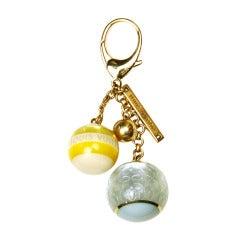 LOUIS VUITTON Gold, Yellow & Blue Logo Ball Bag Charm/Key Chain
