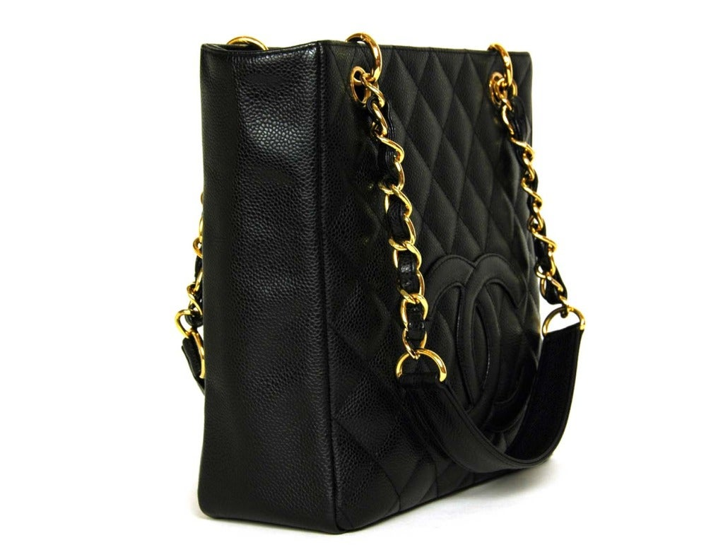 5211da5c79601e CHANEL Black Caviar Leather Petite Shopper Tote Bag PST W. Gold Hardware  Age: c