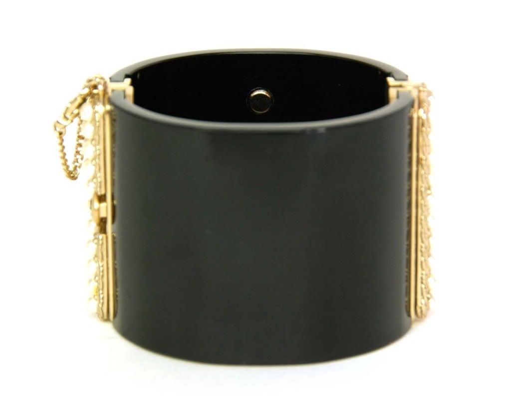 CHANEL NWT Black Resin Clamper Cuff Bracelet W. Pearl CC c. 2011 3