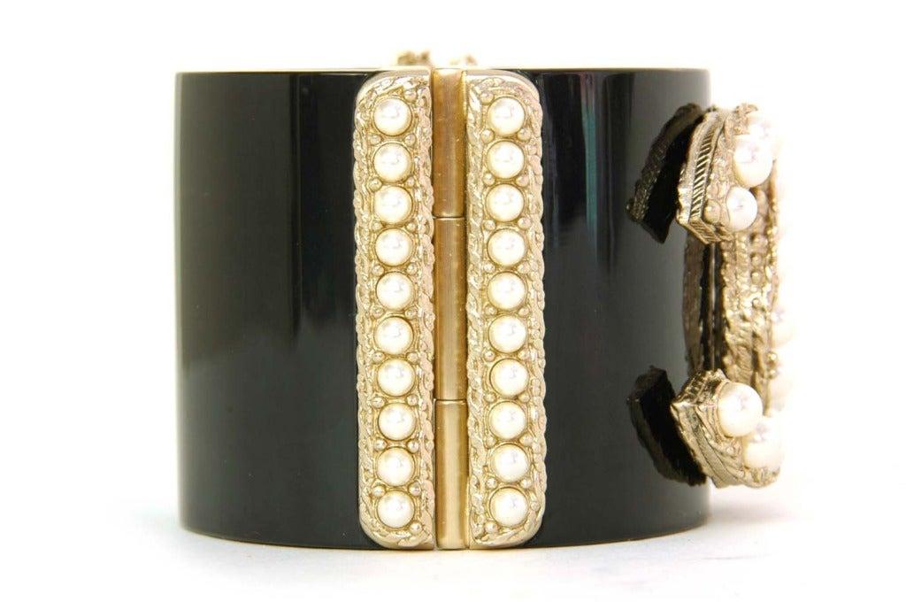 CHANEL NWT Black Resin Clamper Cuff Bracelet W. Pearl CC c. 2011 4