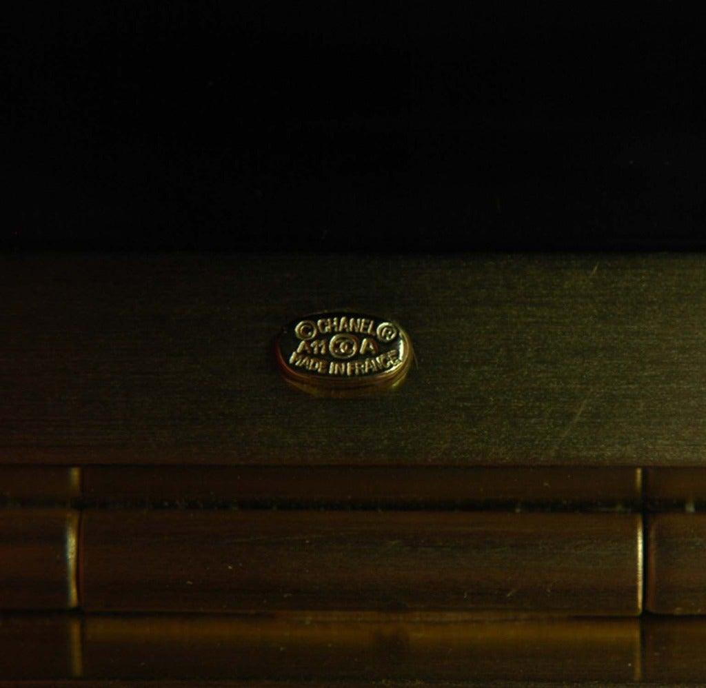 CHANEL NWT Black Resin Clamper Cuff Bracelet W. Pearl CC c. 2011 6