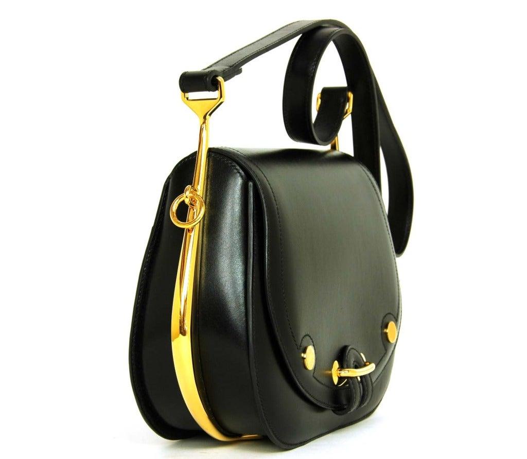 """replica hermes birkin bag - HERMES Black Leather """"Passe Guide"""" Shoulder Bag W. Gold Hardware ..."""