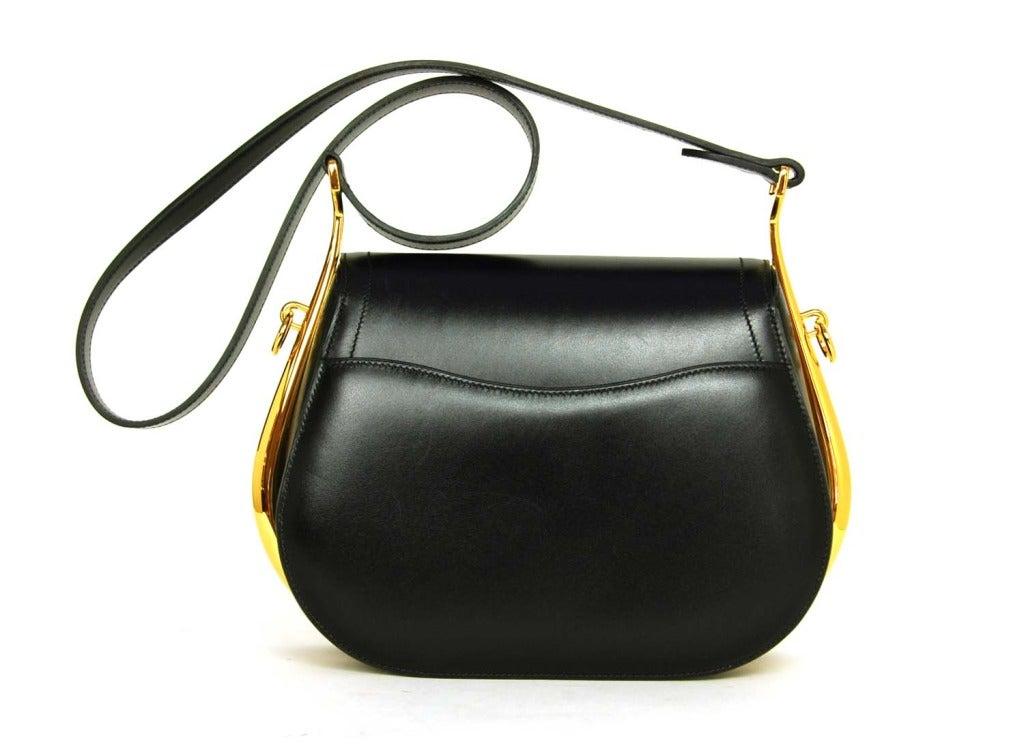 Black Leather Shoulder Bag With Gold Hardware 81