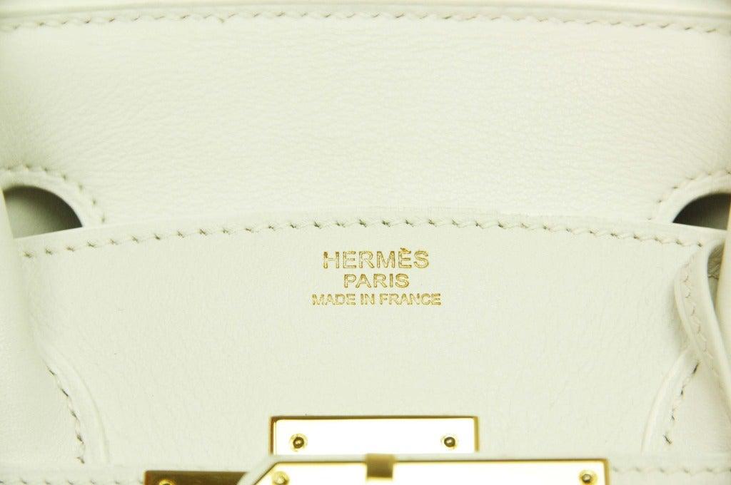 hermes travel birkin - HERMES White Swift Leather 2007 30cm Birkin Bag W. GHW at 1stdibs