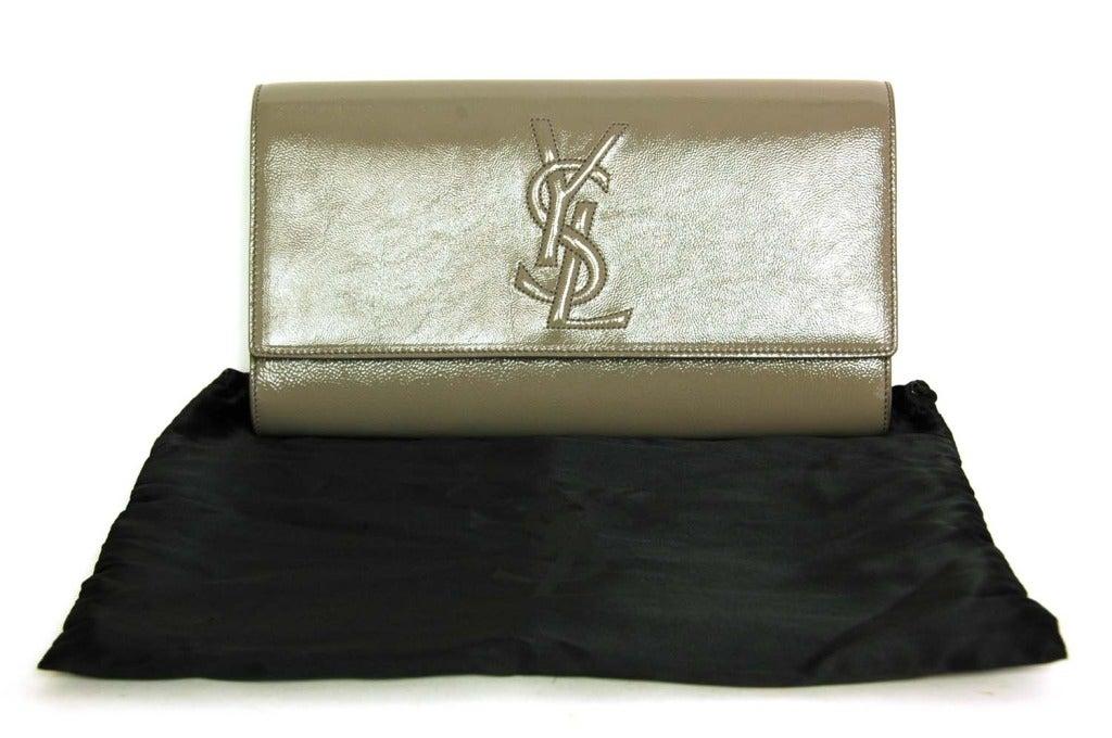 YVES SAINT LAURENT YSL Grey Patent Leather Logo \u0026quot;Sac De Jour ...