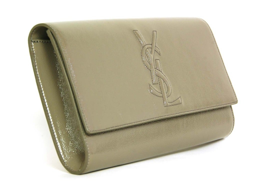 ysl turquoise patent leather clutch